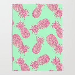 Pineapple Pattern - Mint & Crimson Poster