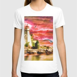 Watercolor Sunset at the Lighthouse (Color) T-shirt