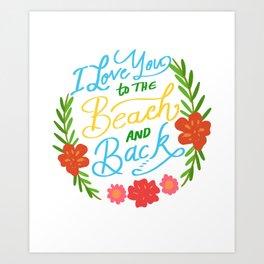 Love Beach Back Beach Person Gift Art Print