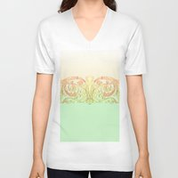 baroque V-neck T-shirts featuring Baroque pattern by mayl4ik
