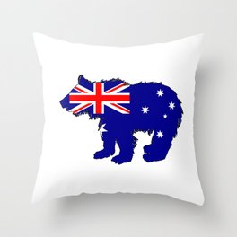 Australian Flag - Bear Cub Throw Pillow