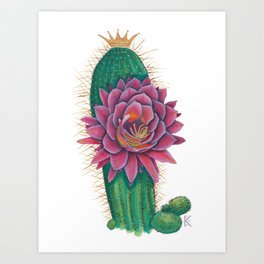 Crowned Cactus with Pink Flower Blossom Art Print