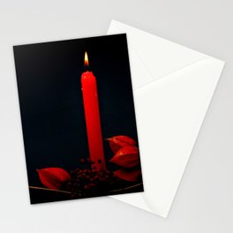 Red Candle Physalis And Rowan Fruits On Black Stationery Cards