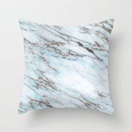 Aqua, Azure, and Heather-Gray Marble Throw Pillow