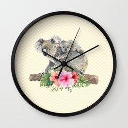 Watercolor Koala Bears Cute Mom & Baby Wall Clock