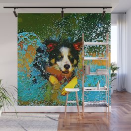 border collie jumping in water vector art Wall Mural