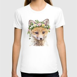Baby Fox With Flower Crown, Baby Animals Art Print By Synplus T-shirt