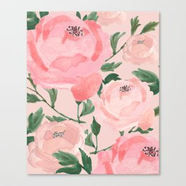 Watercolor Peonies with Blush Background Canvas Print