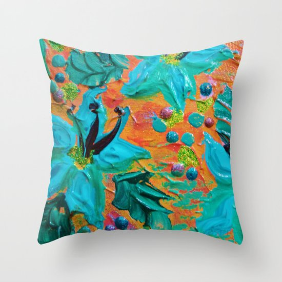 BLOOMING BEAUTIFUL 2 - Modern Abstract Acrylic Tropical Floral Painting, Home Decor Gift for Her Throw Pillow