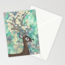 white tailed deer, white breasted nuthatches, & dogwood blossoms Stationery Cards