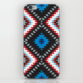 Colorful patchwork mosaic oriental kilim rug with traditional folk geometric ornament. Tribal style iPhone Skin