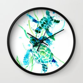 Sea Turtles, Turquoise blue Design Wall Clock