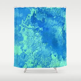 abstract Painting 04 aqua Shower Curtain