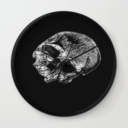 Human Skull Vintage Illustration  Wall Clock