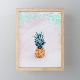 Pineapple on the beach Framed Mini Art Print