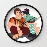 wreck it ralph Wall Clocks featuring Ralph & Vanellope by Violet's Corner