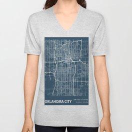 Oklahoma City Blueprint Street Map, Oklahoma City Colour Map Prints Unisex V-Neck