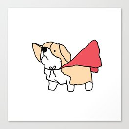 Corgi Cape Superwoman Superman Canvas Print