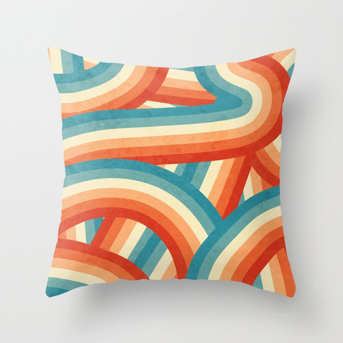 Red Orange Blue And Cream 70 S Style Rainbow Stripes Throw Pillow By Itsjensworld