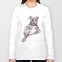 pit bull Long Sleeve T-shirts featuring Pit Bull Portrait in Charcoal by M.M. Anderson Designs