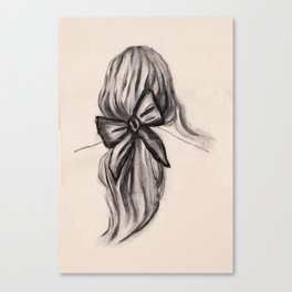 Black bow hairstyle Canvas Print