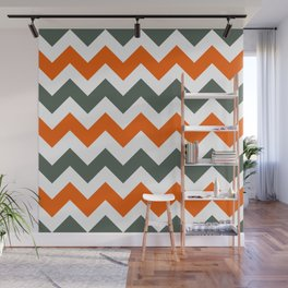 Chevron Pattern In Russet Orange Grey and White Wall Mural