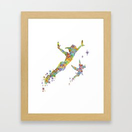 Peter Pan and Tinker Bell Watercolor Framed Art Print