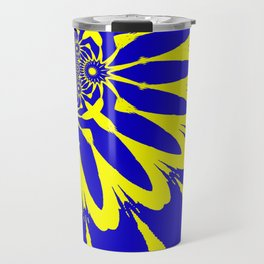 The Modern Flower Blue & Yellow Travel Mug