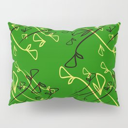Pattern from plant dreen and lilac elements on an eggplant background in a geometric style. Pillow Sham
