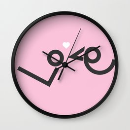'Love' birds minimal typo #society6 #love #buyart Wall Clock