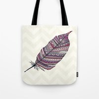 feather Tote Bags featuring FEATHER by Monika Strigel