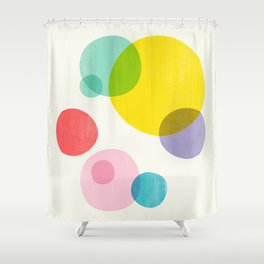 Rainbow Bubbles III Shower Curtain