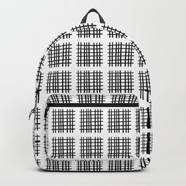 Black+White Check Pactch Backpack