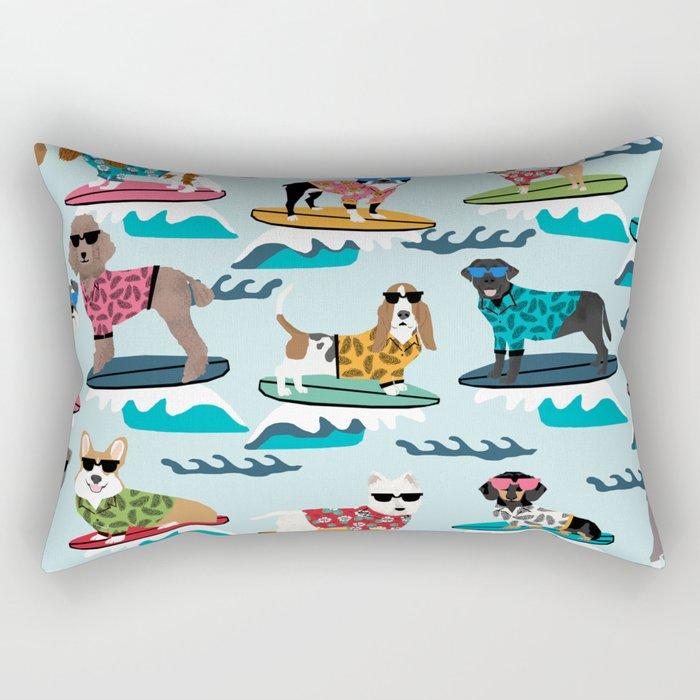 Surfing Dogs - cute summer tropical dogs surfing Rectangular Pillow