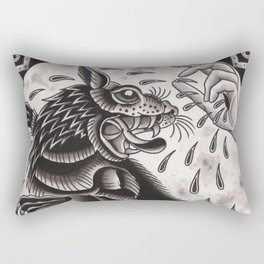 Wolf and Hand Rectangular Pillow