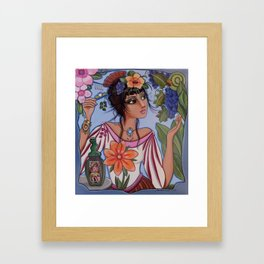 Vineyard Muse or Monica watches the little yellow butterfly while hiding a hair pin for just in case Framed Art Print