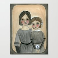 sisters Canvas Prints featuring Sisters by Debra Styer Illustration