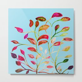Red and Green Leaves on Light Blue Metal Print