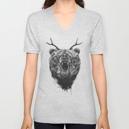 Angry bear with antlers Unisex V-Neck