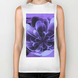 Abstract Blue Flower Biker Tank
