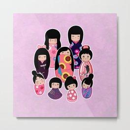 Kokeshi in Pinks & Purples Metal Print