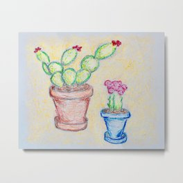 Potted Cacti Metal Print