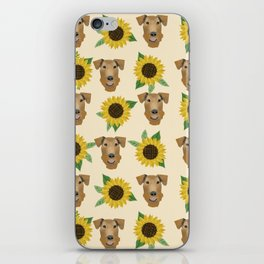 Airedale Terrier Sunflower floral print cute dogs and flowers design iPhone Skin