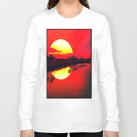 duvet cover Long Sleeve T-shirts featuring Sunset duvet cover by customgift