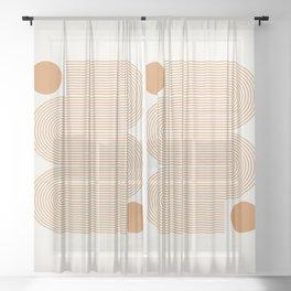 Minimalist Nesting Race Tracks Geometric Wiggly Line Pattern Orange Colors Bohemian Boho Mid Century Modern Sheer Curtain