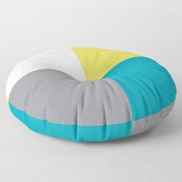 White Yellow Aqua Gray Geometric Minimal Design Floor Pillow