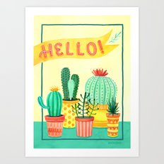 Hello! Colorful Watercolor Cactus and Succulent in Patterned Planters Art Print