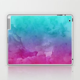 Modern bright summer turquoise pink watercolor ombre hand painted background Laptop & iPad Skin