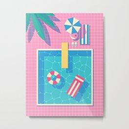 Retro 80s Swimming Pool Metal Print