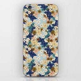 Dainty floral burst on duck egg blue iPhone Skin